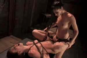 BDSM lezdom strapon tied and fucked