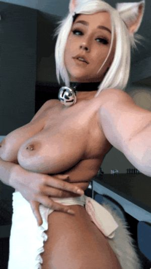 Blonde Kitten with lush breasts