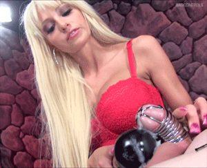 Cruel mistress drains chastity slaves swollen balls