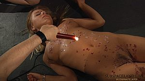 Disobedient slave gets her perfect soft skin marked by hot wax in BDSM punishment!