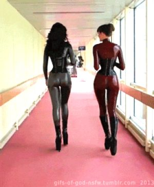 Follow our latex covered asses slaves.