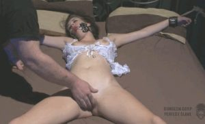 Gagged and bound babe gets pussy twiddled