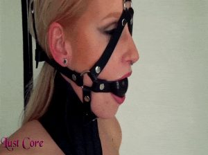 Harness gagged blonde slave with posture collar