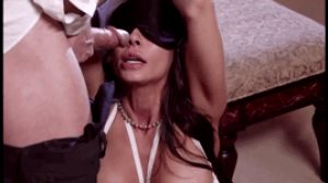 Madison blindfolded, bound, and fed some dick.