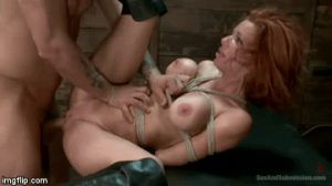 Tied up milf and fucked hard